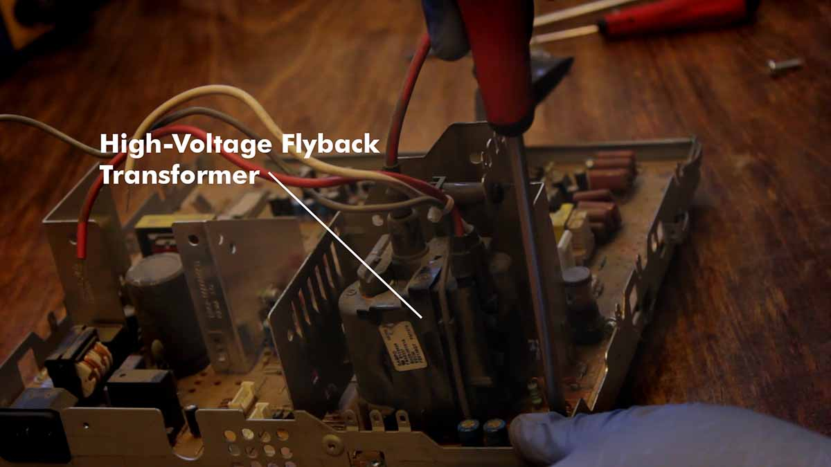 How to salvage a flyback transformer and other parts from an